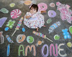 "Use sidewalk chalk to make a fun ""set""! sidewalk chalk art baby photo shoot for Helena's first birthday 1st Birthday Pictures, Baby 1st Birthday, 15th Birthday, Birthday Ideas, Happy Birthday, Chalk Photography, Photography Ideas, Chalk Pictures, First Birthday Photography"