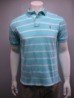 MEN'S POLO BY RALPH LAUREN SZ SMALL SS BLUE WHITE STRIPED COTTON POLO SHIRT   #PoloRalphLauren #PoloRugby