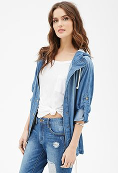 Hooded Chambray Dolman Anorak | FOREVER21 | #thelatest