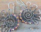 Original Crazy Spiral Earrings - Asymmetric Copper Wire Wrapped Earrings - Autumn Gemstone Beads, peach hessonite and rose rhodolite garnet