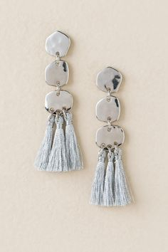 Cecile Hammered Tassel Drop Earring