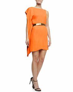 T7MB3 Halston Heritage Asymmetric Drape Sleeve Dress with Belt, Tangerine