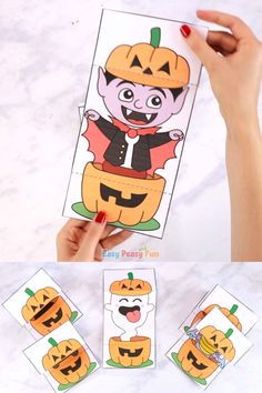 Who or what is hiding inside our Surprise Pumpkin Halloween Cards? Discover a cat, witch, vampire, ghost and a silly monster as they pop out of scary Jack-o'lanterns. Halloween Tags, Link Halloween, Halloween Arts And Crafts, Halloween Activities For Kids, Halloween Pumpkins, Fall Halloween, Happy Halloween, Zucca Halloween, Fun Easy Crafts