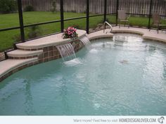 The waterfalls installed in this simple swimming pool makes a difference and adds beauty to it as well.