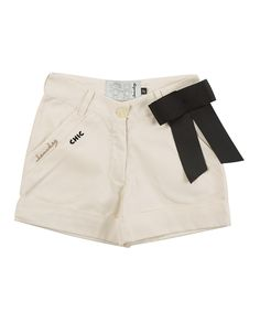 Take a look at this Ivory Voyage Bow Shorts - Infant, Toddler & Girls on zulily today!