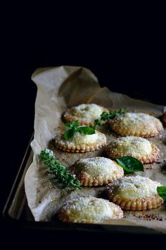 I love pie crusts and savory/sweet flavor blends :: White Peach, Rose, and Basil Hand Pies, via Craft, via Whip Up.