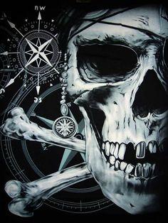 Ye best keep yer compass on true North, or ye be visitin' Davy Jones Locker. Pirate Art, Pirate Skull, Pirate Life, Pirate Theme, Pirate Ships, Bateau Pirate, Black Sails, Davy Jones, Jolly Roger