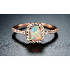 Sevil Princess-Cut White Fiery Opal Ring in 18K Rose Gold Plating5 (17 CAD) ❤ liked on Polyvore featuring jewelry, rings, jewelry & watches, rose gold ring, rose gold princess cut ring, white opal rings, 18 karat white gold ring and white gold rose ring