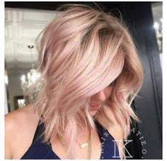 Rose Gold Blonde, Blonde With Pink, Ash Blonde Hair, Platinum Blonde Hair, Blonde Color, Ombre Hair, Pink Hair, Silver Blonde, Emo Hair