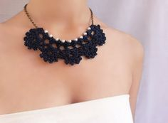 Navy blue necklace with pearl / Wedding party by DIDIcrochet