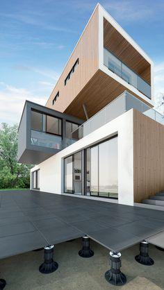 Sistema modular para suelos sobreeelevados SE - ETERNO by ETERNO IVICA Loft Design, Deck Design, House Design, Exterior Solutions, Paver Patterns, Deck Tile, Floor Space, House Front, Terrazzo