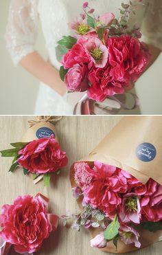 [바보사랑] 딥핑크 플라워부케 & 꽃팔찌 /조화/웨딩/부케/부토니에/꽃/플라워/artificial flower/Wedding/Bouquets/Wedding