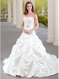 De baile Coração Trem da capela Cetim Vestido de noiva com Pregueado Laço Bordado (002000432) - JJsHouse
