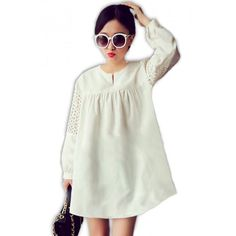 Plain Long Sleeve Loose Maternity Blouse (L) – White Maternity Wear, Maternity Dresses, Affordable Clothes, Every Woman, Kids Fashion, Pregnancy, Chiffon, Blouse, Lady