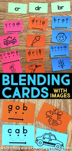 Blending cards help early elementary students learn to read by segmenting each sound, blending the sounds and reading the word. The cues on each card show students that each letter makes a sound. Many of blending cards now have images to go with them. The images are great to use for phonemic awareness or word sorts. The phonics image cards are sized for most pocket charts and are available for most blending cards! Teaching First Grade, Teaching Phonics, Phonics Worksheets, Phonics Activities, Teaching Resources, Teaching Ideas, Phonemic Awareness Activities, Phonological Awareness, Kindergarten Reading