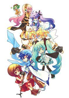 Gumi, Megurine Luka, Gakupo, Kagamine Rin, Kagamine Len, Hatsune Miku, Kaito and Meiko