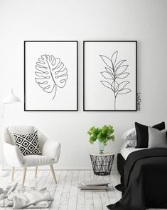 Abstract botanic wall decor, minimalist printable art, one line drawing, Black and white room decor,