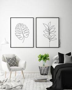 decoration Abstract botanic wall decor, minimalist printable art, one line drawing, Black and white room decor, White Room Decor, White Rooms, Living Room Decor, Black Wall Decor, Modern Wall Decor, Minimalist Furniture, Minimalist Decor, Minimalist Canvas Art, Minimalist Interior