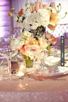 Brilliant! - Absolutely dreamy and beautiful centerpiece in white, peach, and pink   CHECK OUT MORE GREAT VINTAGE WEDDING IDEAS AT WEDDINGPINS.NET   #weddings #vintagewedding #weddingvintage #oldweddingphotos #events #forweddings #iloveweddings #romance #vintage #planners #old #ceremonyphotos #weddingphotos #weddingpictures
