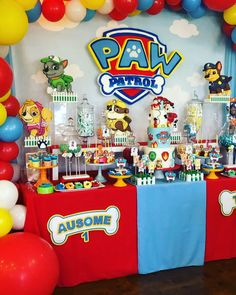 A Paw Patrol dessert table filled with cupcakes, Cakepops, Rice Krispies and more. Paw Patrol Birthday Decorations, Paw Patrol Birthday Theme, Paw Patrol Centerpieces, Paw Patrol Birthday Shirts, Superhero Party Decorations, Spongebob Birthday Party, 4th Birthday Parties, Lego Parties, Lego Birthday