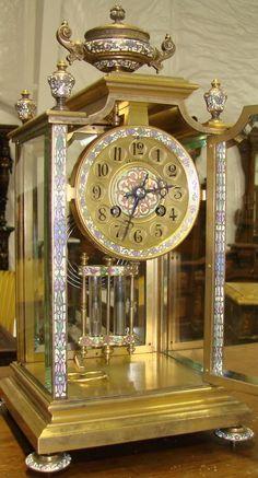 19th c Bronze & Enamel Carriage Clock with Urn Crest and Mercury Pendulum.