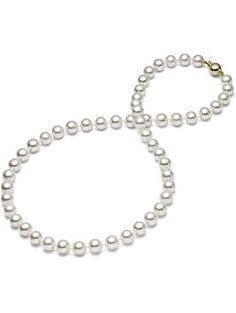 "HinsonGayle AAA GEM 6.5-7mm White Round Freshwater Cultured Pearl Necklace (14K Yellow Gold, 18"") ❤ HinsonGayle Fine Pearl Jewelry"