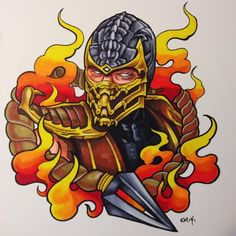 Marker on hot press watercolor paper Mortal Kombat Tattoo, Scorpion Mortal Kombat, Mortal Kombat Art, Desenho New School, Desenhos Old School, Drawings Pinterest, Gaming Tattoo, Comic Games, Marvel Art