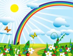Bright spring time meadows butterflies and rainbow wallpaper Scrapbook Background, Cartoon Background, Rainbow Wallpaper, Kids Wallpaper, Cute Backgrounds, Cute Wallpapers, Childrens Bedroom Wallpaper, Rainbow Cartoon, Cartoon Cartoon