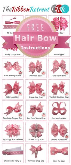 The BEST Free Tutorials! Step by Step, many with YouTube Videos!  So easy and fun!  http://www.theribbonretreat.com/Catalog/free-hairbow-instructions.aspx