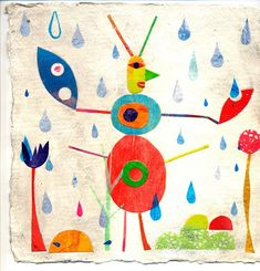 Tracy Mcguinness-Kelly's beautiful collage and print depiction of an insect in the rain.