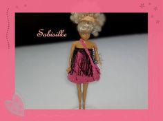 Puppenkleidung - Minikleid mit Strass u. Tasche für Barbie * pink - ein Designerstück von Sabisilke bei DaWanda