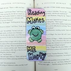 Reading Makes Me Hoppy Frog Bookmark, Froggie Bookmark, Frog Bookmark, Kid's Bookmarks, Children's Gifts, Stocking Stuffer by DivinitysDivineTouch on Etsy
