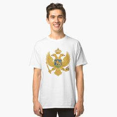 """""""Dungeon Master's Tools Coat of Arms"""" T-shirt by JonGrin Montenegro Flag, Ms Gs, Coat Of Arms, Tshirt Colors, Classic T Shirts, Quill, Tabletop, Mens Tops, Pencil"""