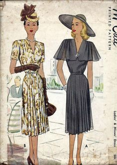 1947 V Neck Dress Gathered Pleated Shoulders and Skirt, Caplet Sleeves. McCall 6936