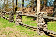 landscaping ideas with rocks corner fence | Fence Pictures: Split-Rail Fences With Stone Posts