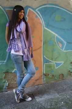 wool shawl with fringes silk #shawl #marinafinzi #shop.marinafinzi.com