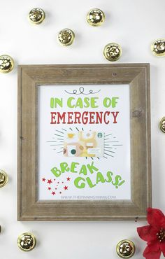 A unique and memorableway to give a gift card as a Christmas gift! Break Glass in Case of Emergency free printable is an easy DIY and perfect for any coffee lover or could be used for ice cream, …