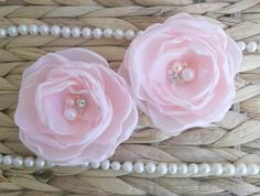 Coral pale pink fabric flower in handmade Bridal by ZBaccessory, $35.00