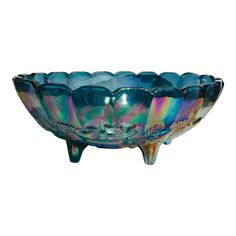 Carnival glass footed bowl with embossed fruit pattern creates texture along the underside. This was the only piece in the line that had more fruit. Vintage Bottles, Vintage Glassware, Vintage Dishes, Vintage Items, Vintage Candy, Vintage Carnival, Antique Decor, Antique Glass, Cut Glass