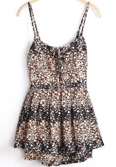 Black Spaghetti Strap Floral Drawstring Jumpsuits pictures