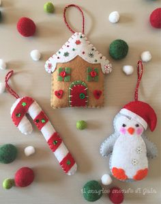 ❄❄❄ Set of 3 lovely Christmas ornaments made to order ❄❄❄ Gingerbread house, Penguin and Candy cane. Christmas ornaments made of merino wool blend felt, 100% handmade (hand-cut and hand-sewing). Filled with hypoallergenic polyester wadding and decorated with beads and sequins. You can use them as Christmas tree ornament, decoration for table, stockings, doors, etc. Measures: Gingerbread house 9,5 x 8 cms Candy cane 10,5 x 4 cms Penguin 10 x 7 cms Save 10% buying all three ornaments! You c...