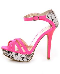 Neon Pink & Python Pumps - some may think these are skank, but I LOVE them! If only I wore heels....