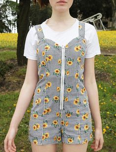 vintage 90s Sunflower floral Gingham Plaid mini Zippered daisy Overall Suspender Romper Playsuit Jumper