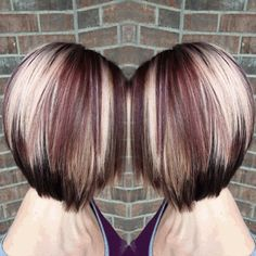 Red violet short hair  Olaplaex  Keratin Express blow out  @ Laura B. Cutaway Salon Joplin, Mo #angledbob #shorthair #redvioletblonde