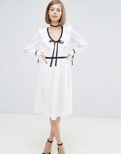 Lost Ink Contrast Trim Dress With Frill Detail