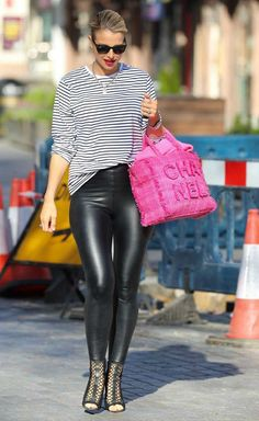 TV personality Vogue Williams in a nautical striped shirt and black PVC leggings paired with a pair of peep-toe ankle boots and big pink fluffy handbag going to Heart Radio's Global House in Leicester Square Pvc Leggings, Shiny Leggings, Leggings Are Not Pants, Global House, Peep Toe Ankle Boots, Leicester Square, Nautical Stripes, Leather Trousers, Leggings Fashion