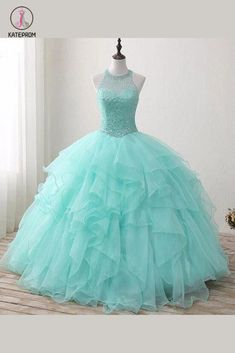 Mint Floor-length Jewel Sleeveless Ball Gown Beading Tulle Prom Dresses,Quinceanera Dresses This dress is very cheap and good quality. It can be made with custom sizes and color. Pretty Quinceanera Dresses, Cute Prom Dresses, Sweet 16 Dresses, Tulle Prom Dress, Pretty Dresses, Elegant Dresses, Colorful Prom Dresses, Sparkly Dresses, Bridesmaid Dresses