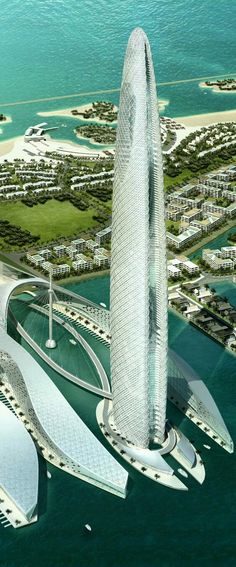 Futuristic architecture - Lulu Island Tower, Abu Dhabi, UAE. designed by Skidmore, Owings & Merrill (SOM) Architects :: 75 floors, height 400m #futuristicarchitecture