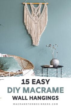 Want to make your own Macrame wall hanging? Check out 15 DIY Easy Macrame Wall Hangings for Beginners and get started on your own project today! Macrame Plant Hanger Patterns, Free Macrame Patterns, Macrame Wall Hanging Patterns, Macrame Art, Macrame Design, Macrame Projects, Macrame Wall Hangings, Macrame Supplies, Micro Macrame