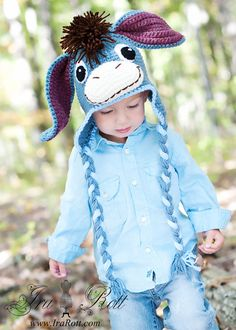Crochet Eeyore Hat. I need to learn how to crochet just for this.